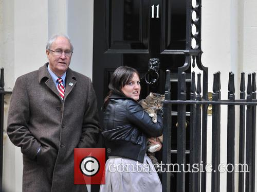 The Chancellor's cat Freya escapes through the 10...