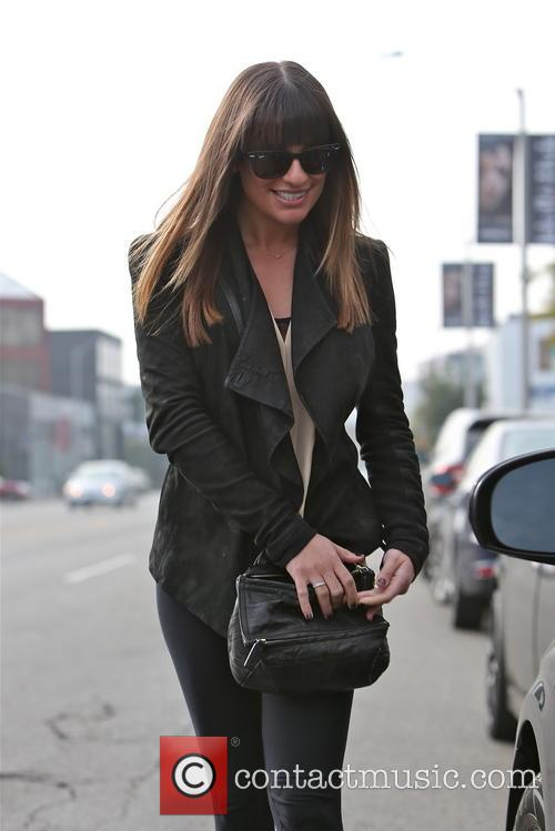 Lea Michele exits the Warren Tricomi hair salon