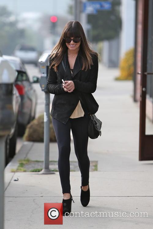 Lea Michele exits the Warren Tricomi hair salon