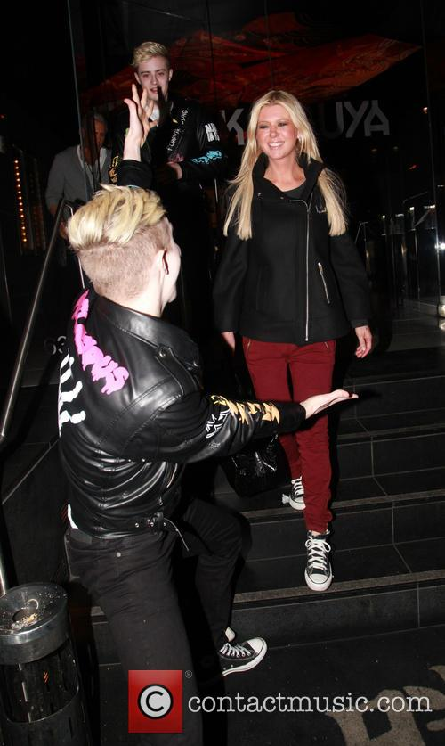 Tara Reid and Jedward leaving Katsuya