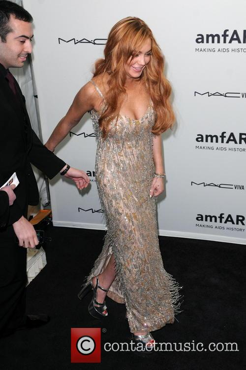 Lindsay Lohan wearing the dress before she ruined it