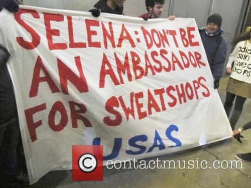 Protest outside the 'Adidas NEO' fashion show