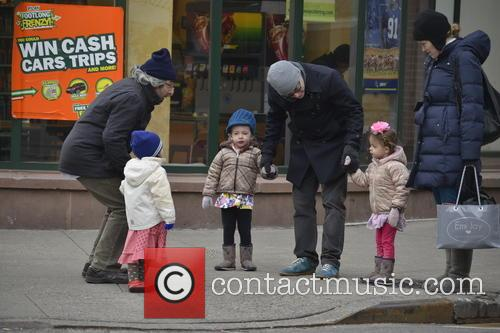 Matthew Broderick takes his twin daughters Marion and...