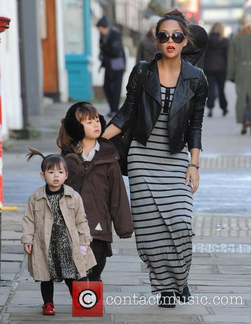 Myleene Klass taking her daughters to school