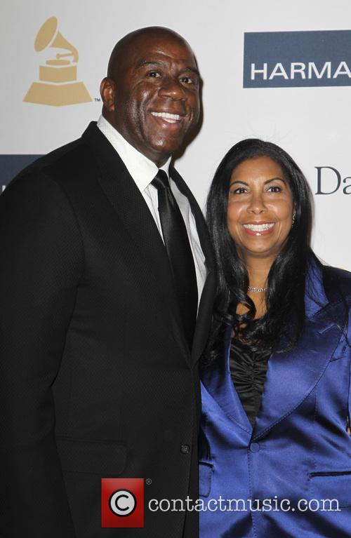 earvin magic johnson cookie johnson clive davis 2013 pre grammy 3492959