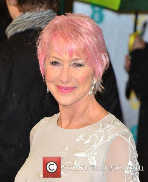 Helen Mirren with pink hair at the BAFTAs