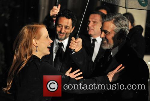 George Clooney and Jessica Chastain 1