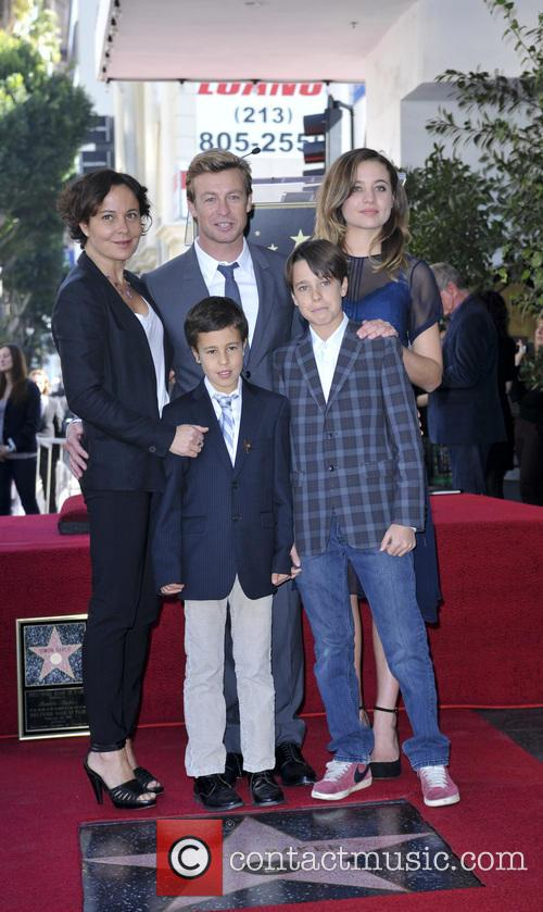 Simon Baker, wife Rebecca Rigg and family 2