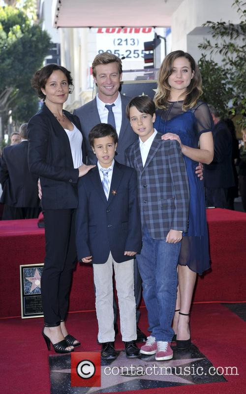 Simon Baker, wife Rebecca Rigg and family 1