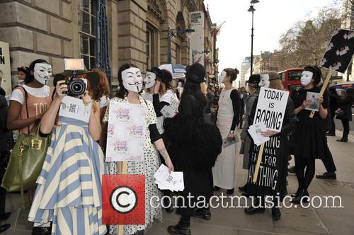 Protesters, London Fashion Week