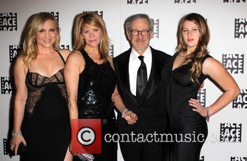 Jessica Capshaw, Kate Capshaw, Steven Spielberg and Sasha Spielberg at Beverly Hilton Hotel