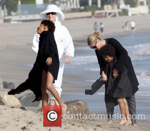 Heidi Klum, Henry Samuel, Johan Samuel, Malibu Beach
