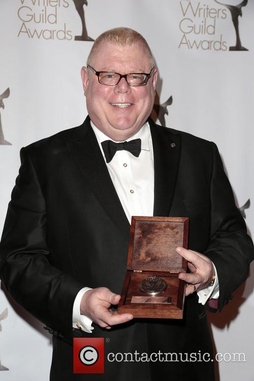 Former President Of Writers Guild West Daniel Petrie, Jr. and Poses With The Morgan Cox Award 2