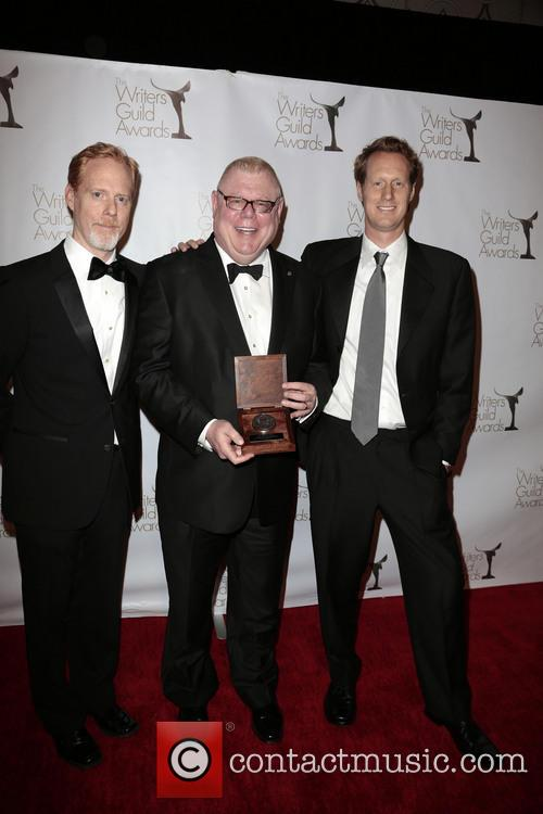 Writer Scott Moore, Former President Of Writers Guild West Daniel Petrie, Jr., And Writer Jon Lucas and Pose With The Morgan Cox Award 2