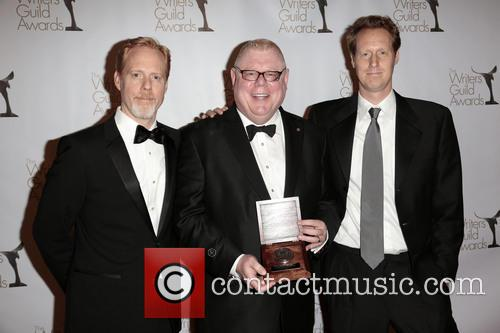 Writer Scott Moore, Former President Of Writers Guild West Daniel Petrie, Jr., And Writer Jon Lucas and Pose With The Morgan Cox Award 1
