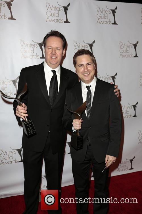 Writers Dave Boone, Paul Greenberg, winners of the Writers Guild Award for Outstanding Script Television, Comedy/Variety Specials, Writers Guild Awards