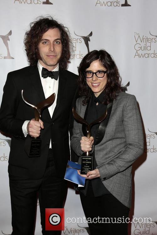 Writers Jonathan Krisel, Karey Dornetto, Winners Of The Writers Guild Award For Outstanding Script Television and Comedy/variety Series 2