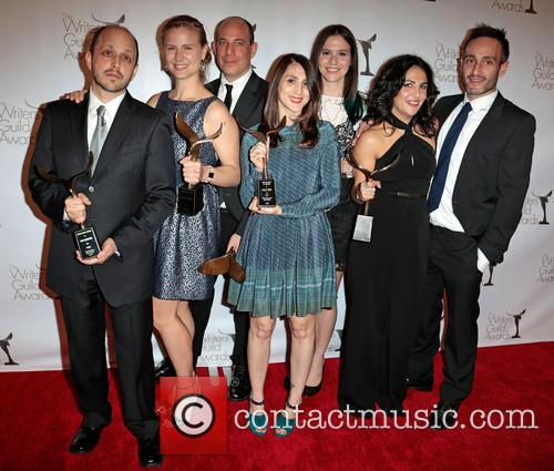 Dan Sterling, Deborah Schoeneman, Bruce Eric Kaplan, Leslie Arfin, Sarah Heyward, Jenni Konner and Winners Of The Writers Guild Award For Outstanding New Series 1