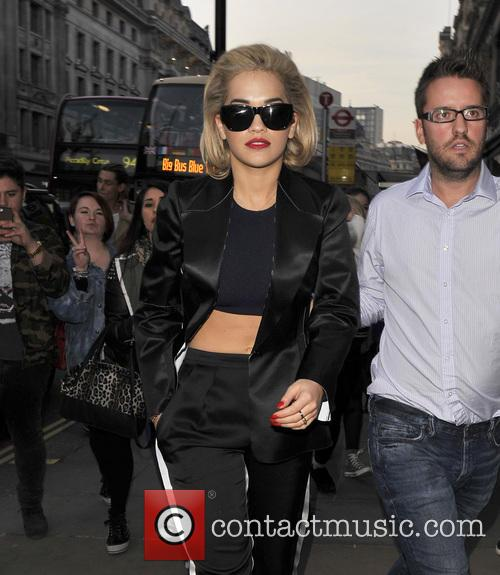 Rita Ora arriving at the Calvin Klein store