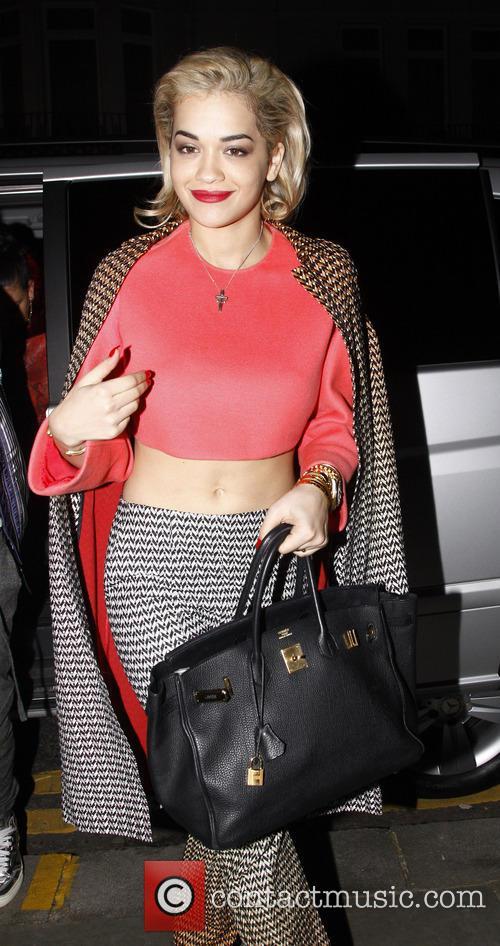 Rita Ora leaves the Cafe Royal hotel
