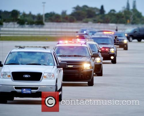 Barack Obama and Presidential Motorcade Arrives At Palm Beach International Airport 7