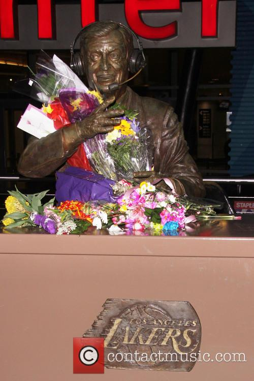 Memorial for Jerry Buss, the owner of basketball...