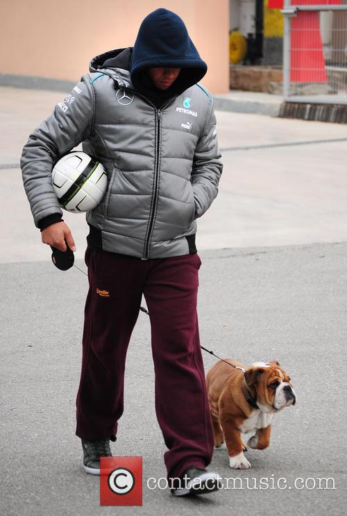 Lewis Hamilton seen with his Bulldog Rosco
