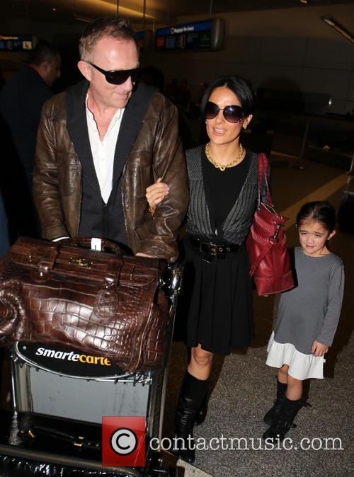 Salma Hayek and family arrive at LAX airport