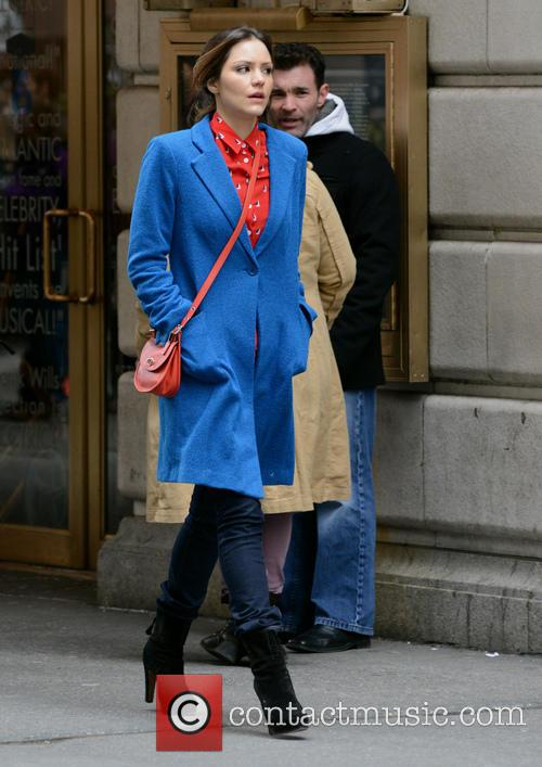 Celebrities on the film set of 'Smash' in Manhattan