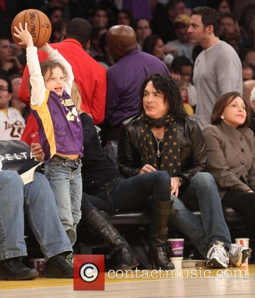 Celebrities watch the LA Lakers vs. Portland Trail...