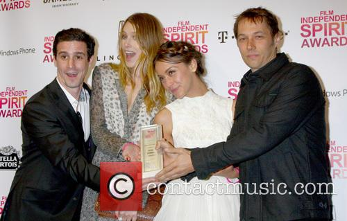 (L-R) Actors James Ransone, Dree Hemingway, Stella Maeve, director Sean Baker pose with the Robert Altman Award for 'Starlet', Tent on the Beach, Independent Spirit Awards