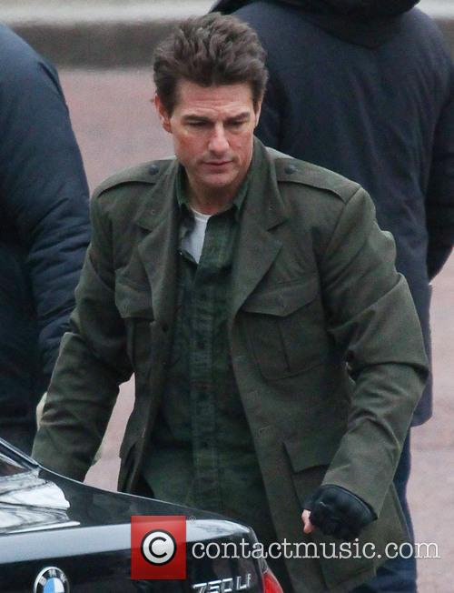 Tom Cruise filming a scene from his movie 'All You Need is Kill'