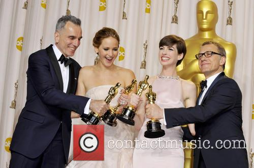 Daniel Day-lewis, Jennifer Lawrence, Anne Hathaway and Christoph Waltz 2