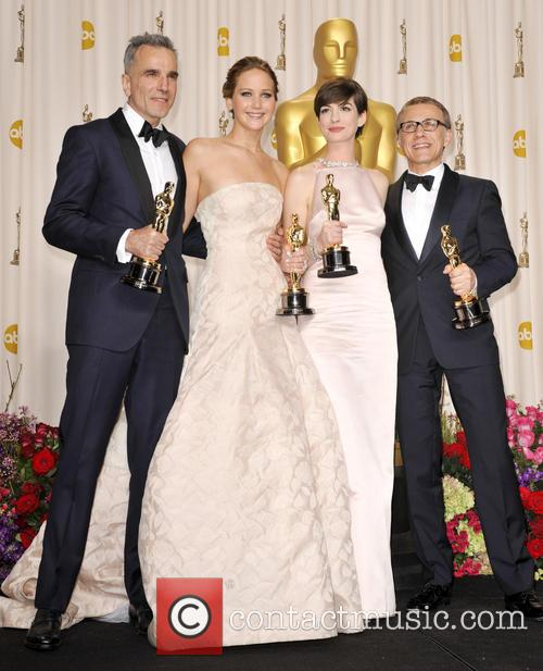 Daniel Day-lewis, Jennifer Lawrence, Anne Hathaway and Christoph Waltz 1