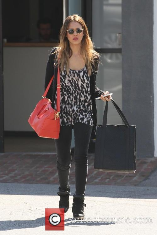 Jessica Alba is seen  out running errands in West Hollywood