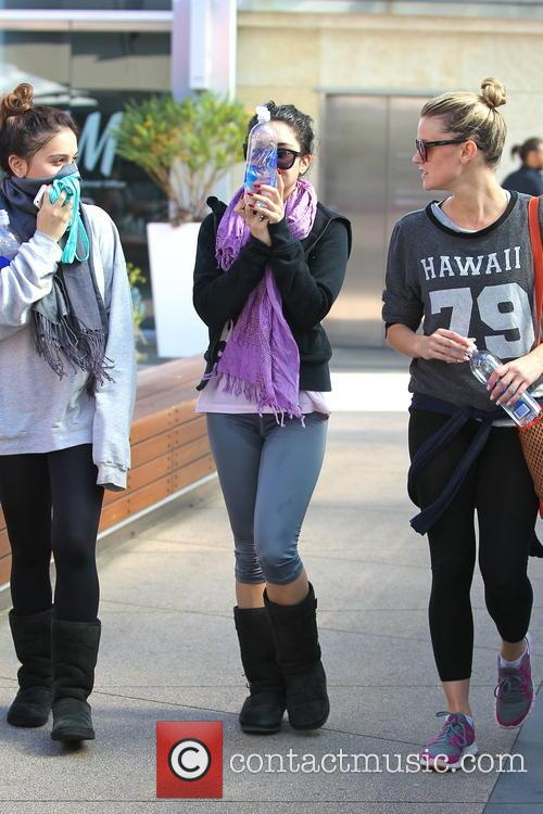 Vanessa Hudgens, her sister and a friend are seen leaving the gym in West Hollywood