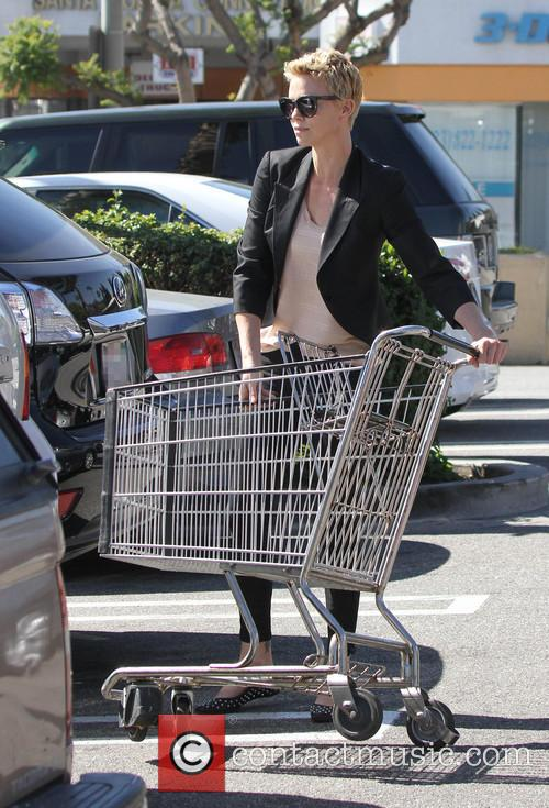 Charlize Theron grocery shopping with son Jackson