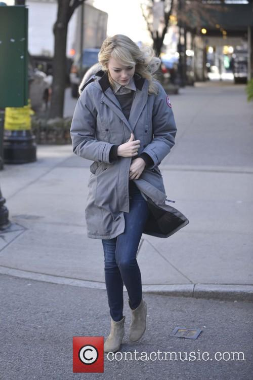 Emma Stone is seen braving a windy day...