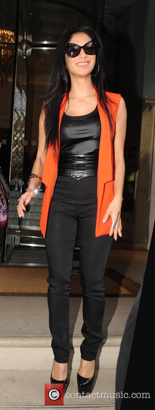 Nicole Scherzinger outside the Langham hotel