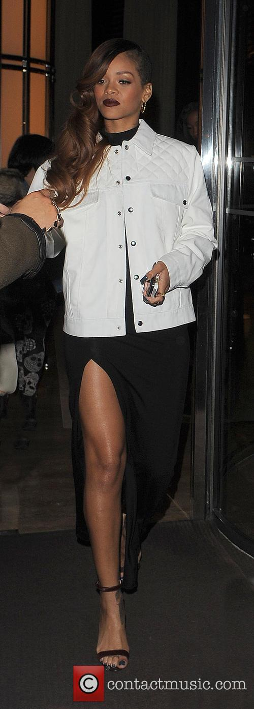 Rihanna departs her London hotel to head to the River Island launch