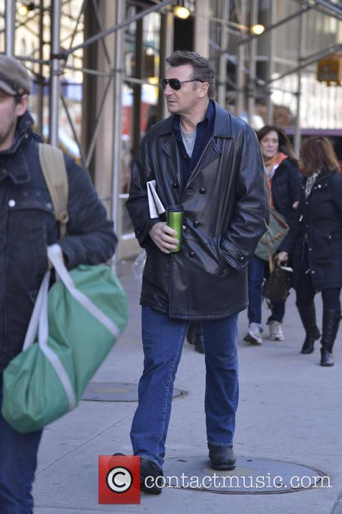 Liam Neeson is seen out and about in...