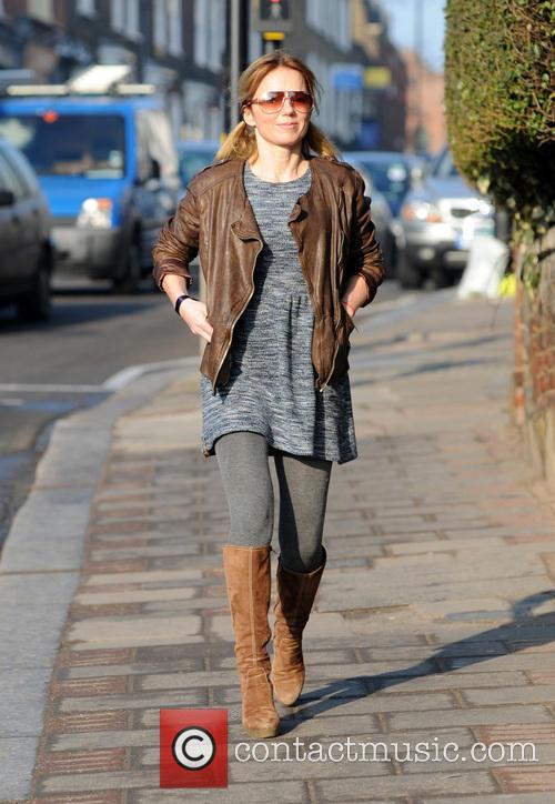 Brown Leather Jacket, Pigtails, Bunches, Boucle Dress, Grey Tights, Sunglasses and Brown Boots 4