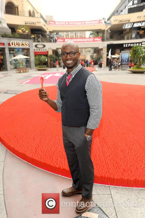 """Taye Diggs unveils """"Got Milk?"""" milk mustache ad at the Hollywood & Highland Center in Hollywood"""