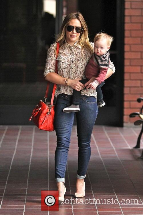 Hilary Duff takes her son Luca to baby...