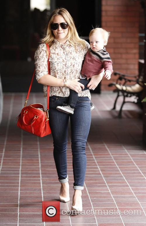 Hilary Duff seen with her son Luca leaving...