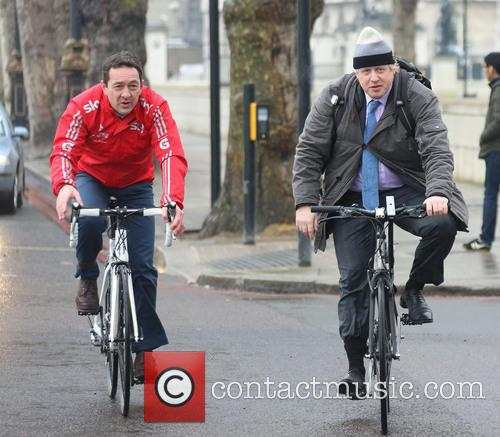 Boris Johnson and Chris Boardman during a cycling...