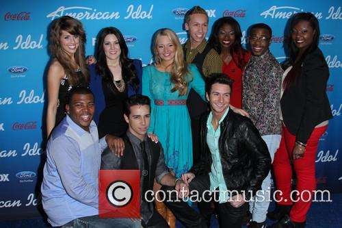 Devin, (top L-r) Finalists Angie Miller, Kree Harrison, Janelle Arthur, Amber Holcomb, Burnell Taylor, Candice Glover (bottom L-r) Curtis Finch Jr., Lazaro Arbos, Paul Jolley and American Idol 3