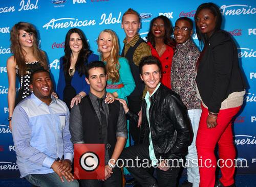 Devin, (top L-r) Finalists Angie Miller, Kree Harrison, Janelle Arthur, Amber Holcomb, Burnell Taylor, Candice Glover (bottom L-r) Curtis Finch Jr., Lazaro Arbos, And Paul Jolley and American Idol 5