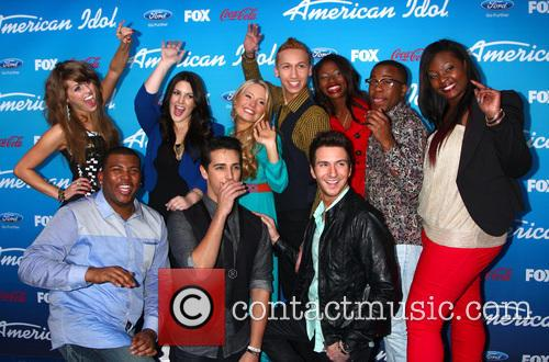 Devin, (top L-r) Finalists Angie Miller, Kree Harrison, Janelle Arthur, Amber Holcomb, Burnell Taylor, Candice Glover (bottom L-r) Curtis Finch Jr., Lazaro Arbos, And Paul Jolley and American Idol 6