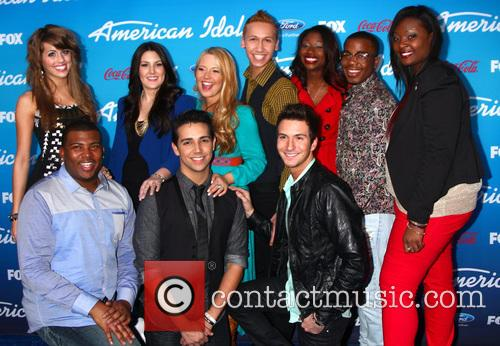 Devin, (top L-r) Finalists Angie Miller, Kree Harrison, Janelle Arthur, Amber Holcomb, Burnell Taylor, Candice Glover (bottom L-r) Curtis Finch Jr., Lazaro Arbos, And Paul Jolley and American Idol 9